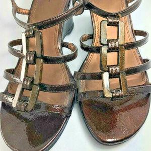 LIFESTRIDE Metallic Brown Strappy Wedge Sandals